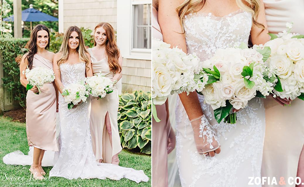 Backyard micro wedding Bride and Bridesmaid Bouquets. Photo by Zofia&Co. Photography.