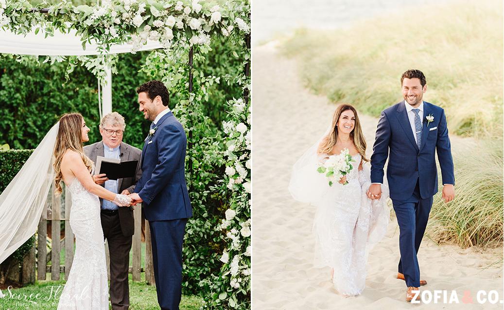 """I Do's"" under backyard chuppah. Bride and Groom holding hands on Nantucket Beach. Photo by Zofia&Co. Photography."