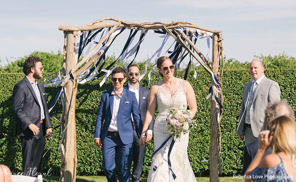 Outdoor Wedding with Driftwood Trellis